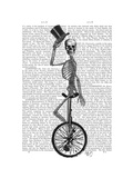 Skeleton on Unicycle Prints by  Fab Funky