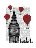 Big Ben and Red Hot Air Balloons Premium Giclee Print by  Fab Funky