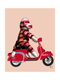 Sock Monkey on Red Moped Premium Giclee Print by  Fab Funky
