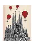 Sagrada Familia and Red Hot Air Balloons Posters by  Fab Funky