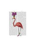 Mardi Gras Flamingo Full Premium Giclee Print by  Fab Funky