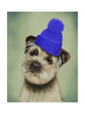Border Terrier with Blue Bobble Hat Posters by  Fab Funky