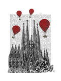Sagrada Familia and Red Hot Air Balloons Premium Giclee Print by  Fab Funky