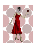 Monkey in Red Dress with wine Prints by  Fab Funky