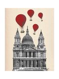 St Pauls Cathedral and Red Hot Air Balloons Premium Giclee Print by  Fab Funky