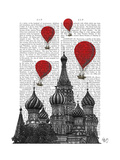 St Basil's Cathedral and Red Hot Air Balloons Premium Giclee Print by  Fab Funky