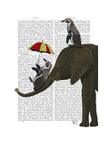 Elephant and Penguin Premium Giclee Print by  Fab Funky