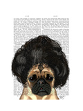Pug in a Bad Wig Art by  Fab Funky