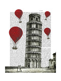 Tower of Pisa and Red Hot Air Balloons Reproduction giclée Premium par  Fab Funky
