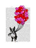 Boston Terrier and Balloons Print by  Fab Funky