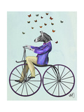 Zebra on Bicycle Print by  Fab Funky