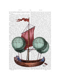 Hot Air Balloon Airship with Red Sail Prints by  Fab Funky