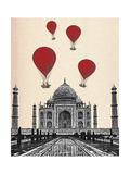 Taj Mahal and Red Hot Air Balloons Affiches par  Fab Funky