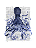 Blue Octopus 3 Premium Giclee Print by  Fab Funky