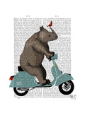 Rhino on Moped Premium Giclee Print by  Fab Funky