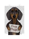Dachshund Free Hugs Premium Giclee Print by  Fab Funky