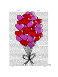 Valentine Heart Balloon Illustration Poster by  Fab Funky