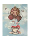 Flamingos in Teacup Affiche par  Fab Funky