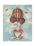 Flamingos in Teacup Premium Giclee Print by  Fab Funky