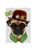 Pug with Steampunk Bowler Hat Poster by  Fab Funky