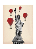 Statue of Liberty and Red Hot Air Balloons Premium Giclee Print by  Fab Funky