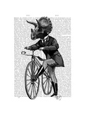 Triceratops Man on Bike Dinosaur Posters by  Fab Funky
