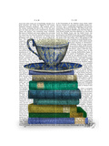 Teacup and Books Poster por  Fab Funky