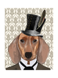 Dachshund Dog with Top Hat Premium Giclee Print by  Fab Funky