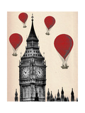 Fab Funky - Big Ben and Red Hot Air Balloons - Poster