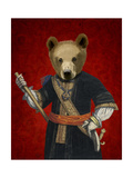 Bear in Blue Robes Premium Giclee Print by  Fab Funky