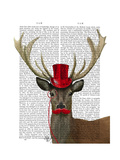 Deer with Red Top Hat and Moustache Poster by  Fab Funky