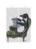Penguin Reading Newspaper Premium Giclee Print by  Fab Funky