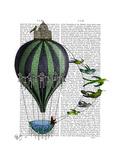 Hot Air Balloon and Birds Print by  Fab Funky
