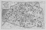 Vintage Paris Map - B&W Impression giclée par  The Vintage Collection