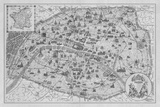 Vintage Paris Map - B&W Giclee Print by  The Vintage Collection