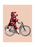 Sock Monkey on Bicycle Prints by  Fab Funky