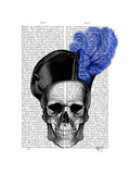 Skull with Blue Hat Print by  Fab Funky