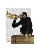 Monkey Playing Trumpet Premium Giclee Print by  Fab Funky
