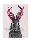 Jackalope with Pink Antlers Poster by  Fab Funky