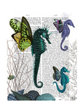 Seahorse Trio with Wings Prints by  Fab Funky