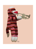 Sock Monkey Playing Trumpet Premium Giclee Print by  Fab Funky