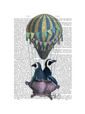 Flying Penguins Premium Giclee Print by  Fab Funky