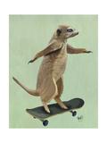 Meerkat on Skateboard Poster par  Fab Funky