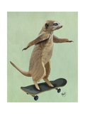 Meerkat on Skateboard Prints by  Fab Funky