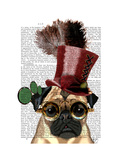 Pug with Steampunk Style Top Hat Prints by  Fab Funky