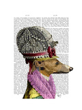 Greyhound in 16th Century Hat Premium Giclee Print by  Fab Funky