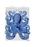 Vintage Blue Octopus 1 Front Premium Giclee Print by  Fab Funky