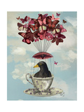 Blackbird in Teacup Premium Giclee Print by  Fab Funky