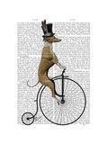 Greyhound on Black Penny Farthing Bike Premium Giclee Print by  Fab Funky