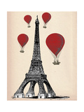 Fab Funky - Eiffel Tower and Red Hot Air Balloons Reprodukce